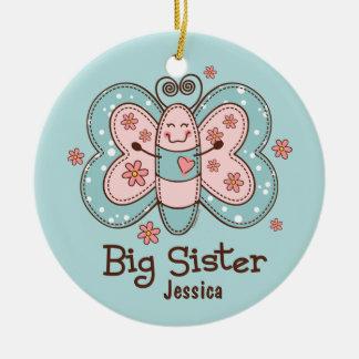 Ornamento personalizado de la hermana grande de la adorno navideño redondo de cerámica