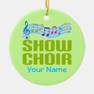 Ornamento personalizado de la música del coro de adorno navideño redondo de cerámica