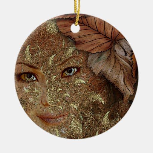 Ornamento personalizado de la ninfa de madera del adorno redondo de cerámica