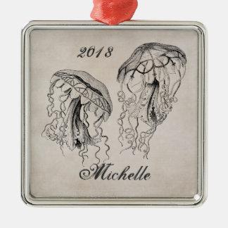 Ornamento personalizado de la playa de las medusas adorno de reyes