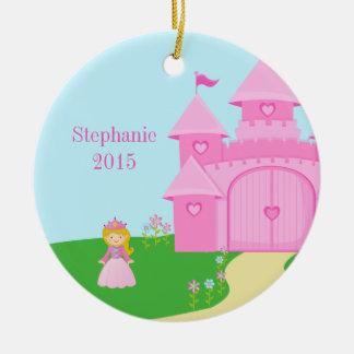 Ornamento personalizado de la princesa y del chica adorno navideño redondo de cerámica