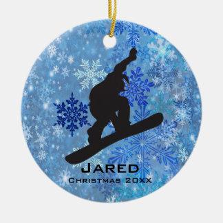 Ornamento personalizado de la snowboard adorno navideño redondo de cerámica