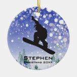Ornamento personalizado de la snowboard adornos de navidad