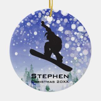 Ornamento personalizado de la snowboard adorno redondo de cerámica