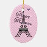 Ornamento personalizado de la torre Eiffel de Adorno Navideño Ovalado De Cerámica