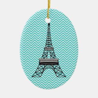 Ornamento personalizado de la torre Eiffel de Chev Adornos De Navidad