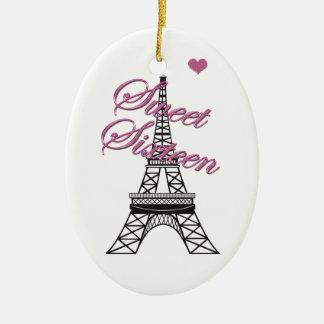 Ornamento personalizado de la torre Eiffel de Adorno Ovalado De Cerámica