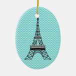 Ornamento personalizado de la torre Eiffel de Adornos De Navidad