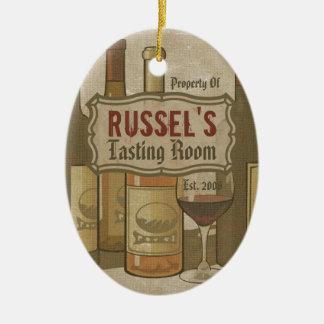 Ornamento personalizado de las botellas de vino adorno navideño ovalado de cerámica