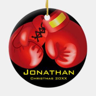 Ornamento personalizado de los guantes de boxeo adorno navideño redondo de cerámica