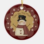 Ornamento personalizado del amor del muñeco de ornamento de navidad