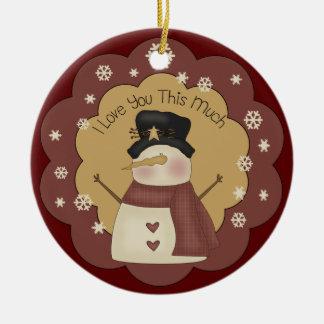 Ornamento personalizado del amor del muñeco de nie ornamento de navidad