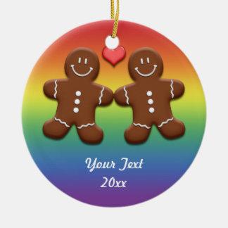 Ornamento personalizado del arco iris de los adorno navideño redondo de cerámica