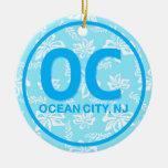 Ornamento personalizado del azul de la ciudad del  ornamento de reyes magos