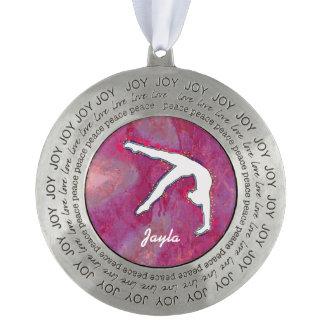Ornamento personalizado del bailarín del gimnasta adorno redondo de peltre