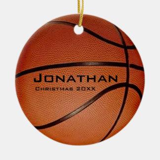 Ornamento personalizado del baloncesto adorno navideño redondo de cerámica