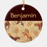 Ornamento personalizado del bebé del caballo ornamento para arbol de navidad