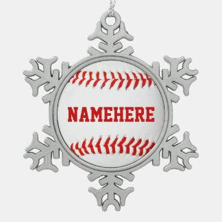 Ornamento personalizado del béisbol adorno de peltre en forma de copo de nieve