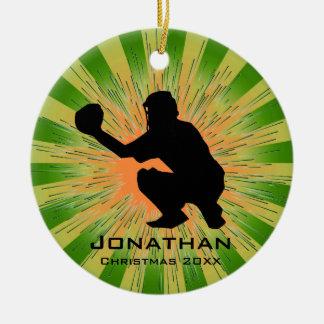 Ornamento personalizado del béisbol adorno navideño redondo de cerámica