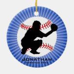 Ornamento personalizado del béisbol (colector) adorno navideño redondo de cerámica