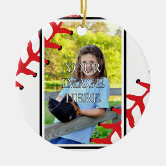 Ornamento personalizado del béisbol/del softball adorno navideño redondo de cerámica