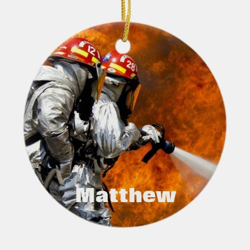 Ornamento personalizado del bombero adornos de navidad