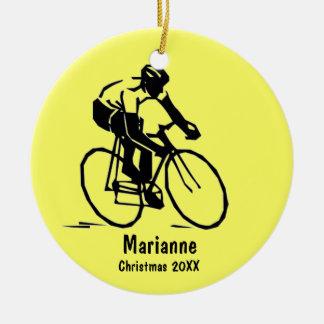 Ornamento personalizado del ciclista adornos de navidad
