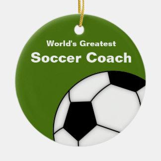 Ornamento personalizado del coche del fútbol adorno navideño redondo de cerámica