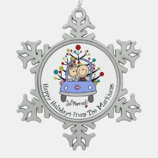 Ornamento personalizado del copo de nieve de novia adornos
