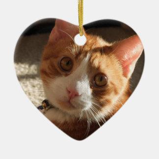 Ornamento personalizado del corazón de la foto del adorno de cerámica en forma de corazón