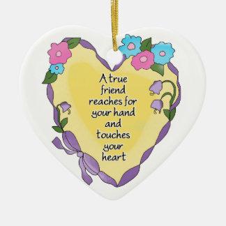 Ornamento personalizado del corazón del recuerdo adorno navideño de cerámica en forma de corazón