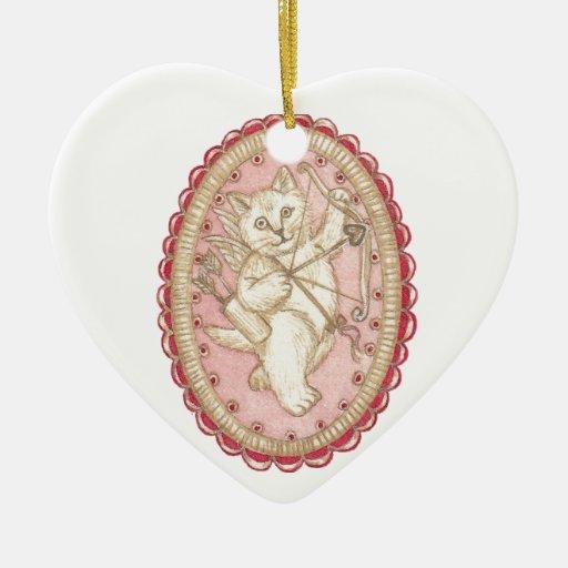 Ornamento personalizado del Cupid del gatito Ornatos