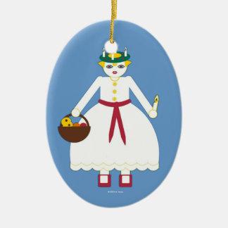 Ornamento personalizado del día de Martzkin St Adorno Navideño Ovalado De Cerámica