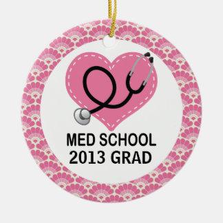 Ornamento personalizado del diplomado de escuela adorno navideño redondo de cerámica
