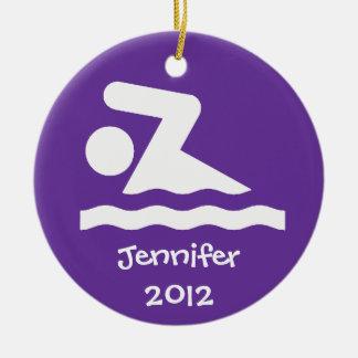Ornamento personalizado del diseño de la nadada adornos de navidad