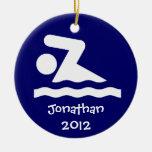 Ornamento personalizado del diseño de la nadada ornamentos de navidad