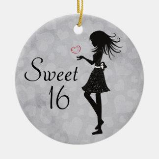 Ornamento personalizado del dulce 16 del chica de adornos de navidad