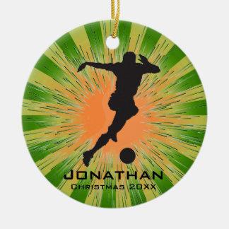 Ornamento personalizado del fútbol adorno navideño redondo de cerámica