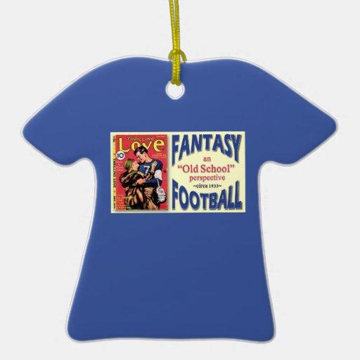 Ornamento personalizado del fútbol de la fantasía adorno navideño de cerámica en forma de playera