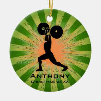 Ornamento personalizado del levantador de peso adorno navideño redondo de cerámica