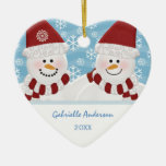 Ornamento personalizado del muñeco de nieve adorno de cerámica en forma de corazón