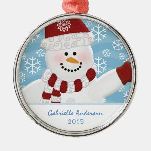 Ornamento personalizado del muñeco de nieve adorno redondo plateado