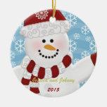 Ornamento personalizado del muñeco de nieve adorno redondo de cerámica