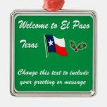 Ornamento personalizado del navidad de El Paso TX Adorno Navideño Cuadrado De Metal