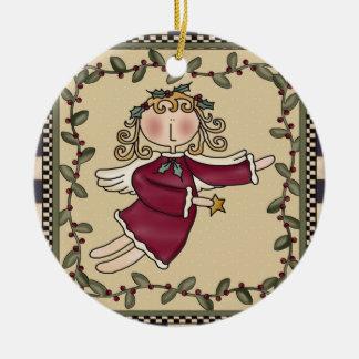 Ornamento personalizado del navidad del ángel adorno navideño redondo de cerámica