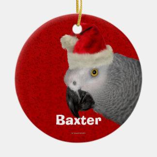Ornamento personalizado del navidad del loro adorno navideño redondo de cerámica