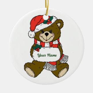 Ornamento personalizado del navidad del oso de adorno navideño redondo de cerámica