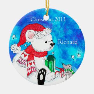 Ornamento personalizado del navidad del oso polar adorno de reyes