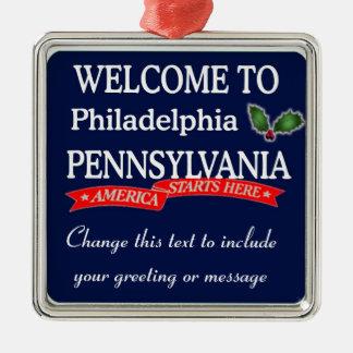 Ornamento personalizado del navidad del PA de Adorno Cuadrado Plateado