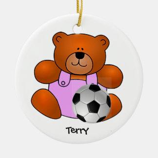 Ornamento personalizado del oso de peluche del adorno navideño redondo de cerámica